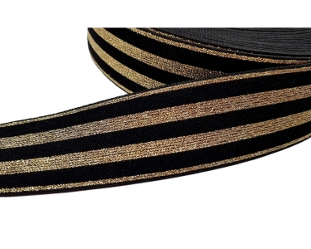 Dekoratyvinė guma 40mm Auksinė/Juoda